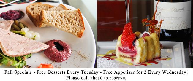 free dessert free appetizers